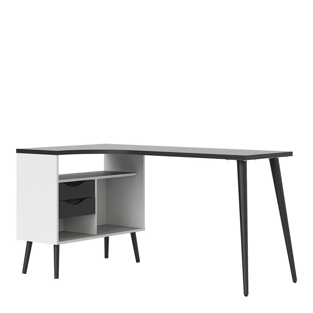 Freja Desk 2 Drawer in White and Black Matte